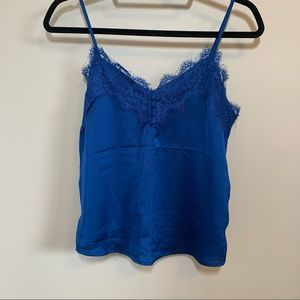 ABERCROMBIE & FITCH Blue Satin Lace Tank Top